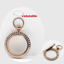 New Arrival! pocket watch design! 30mm magnetic closure chocolate 316L stainless steel floating locket with czech crystals