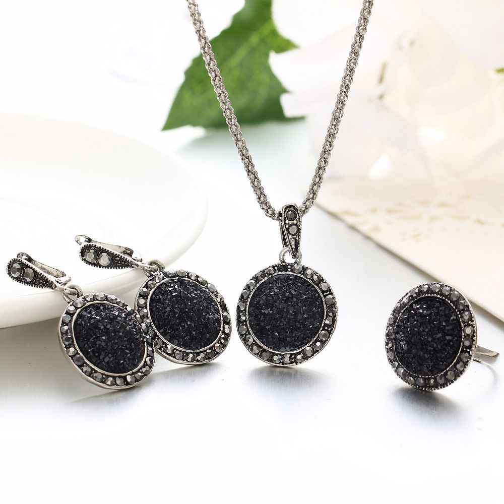 4Pcs/set Vintage Crystal Round Jewelry Set For Women Bijoux Charm Pendant Necklaces Drop Earrings Fashion Party Jewelry