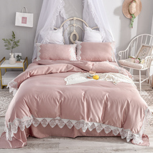 Pink White Blue Yellow Gray Silky Silk Girl Lace Bedding sets Duvet Cover Bed Sheet Linen Pillowcases Queen King Size 4pcs