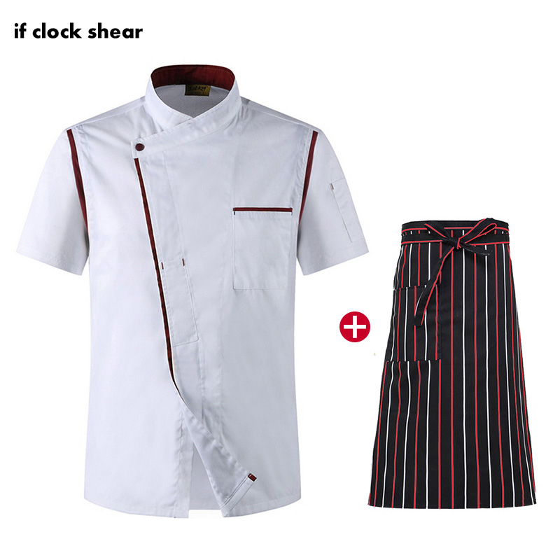 Unisex Restaurant Hotel Kitchen Workwear Chef Apron Jacket Short Sleeve Chef Uniform Cooking Shirt Breathable Work Clothes Men
