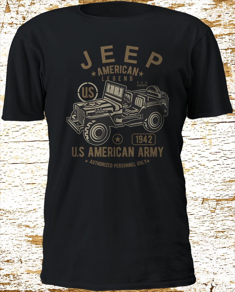2018 New Cool Tee   Shirt   New JEEP American Legend Army Vehicle Black   T  -  Shirt   S-3XL