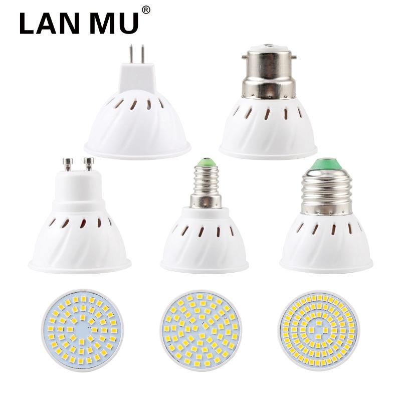 LAN MU Lampada LED Bulb E27 E14 MR16 GU10 B22 220V Bombillas LED Lamp Spotlight 48 60 80 LED Lampara Spot Grow Plant Light