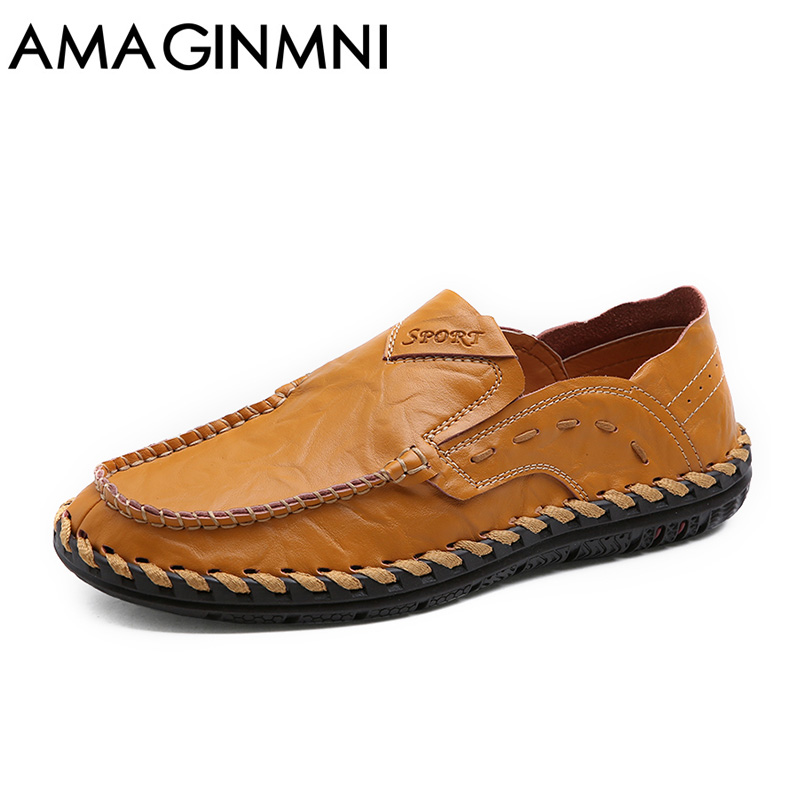 AMAGINMNI Brand 2017 New Comfortable Casual Shoes Loafers Men Shoes High Quality Driving Shoes Fashion trends Spring and Autumn 2017 new spring imported leather men s shoes white eather shoes breathable sneaker fashion men casual shoes