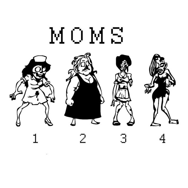 Zombie Stick Figure Family Of Moms And Kids Car Stickers