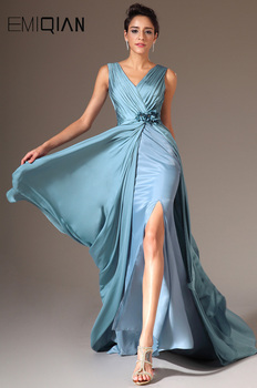 Simple Mermaid Evening Dress Gown,Elegant Sexy V neck Pleated Bodice High Slit Cheap Banquet Dinner Prom Party Dress Vestidos