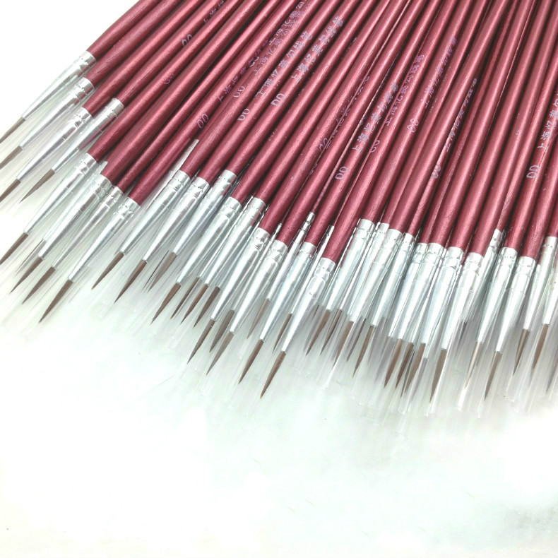 10Pcs/Set Professional Hair Paint Brushes Detail 7 Miniature Acrylic Watercolor  Painting Supplies Random Color