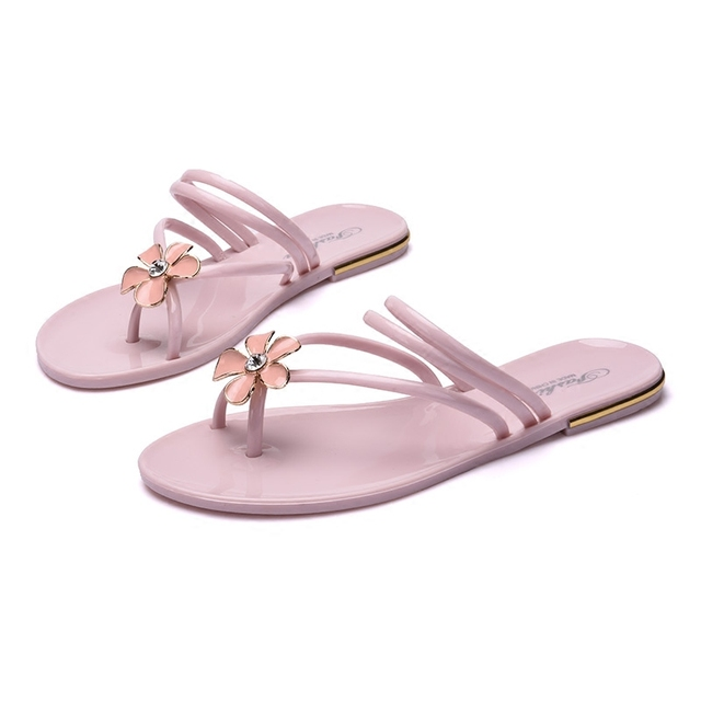 Summer Flat With Flip Flops Female Slippers Flower Crystal Beach Slippers  Sandals Female Nude Pink Bathroom