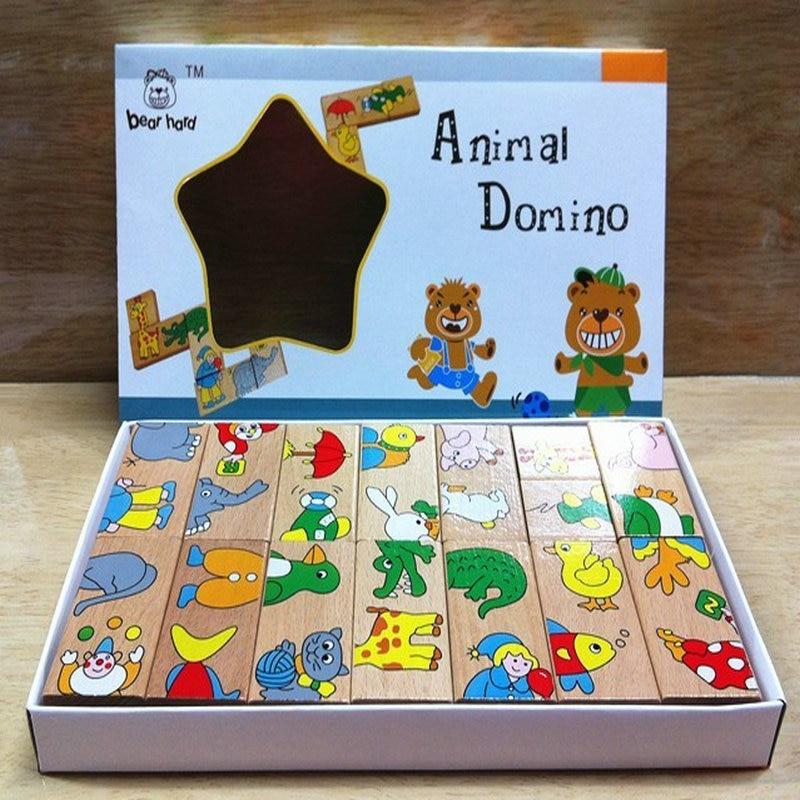 Besplatna dostava Classic Drveni 15PCS životinjske zagonetke Domino igračka, drvo učenje obrazovanje beba igračka crtani životinja slagalica igračka