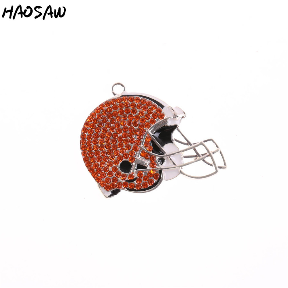 KQ Fashion Pendant Jewelry 5pcs/lot Rhinestone Helmet Football Team Pendant Sport Pendant For Necklaces Jewelry KQPP-503539
