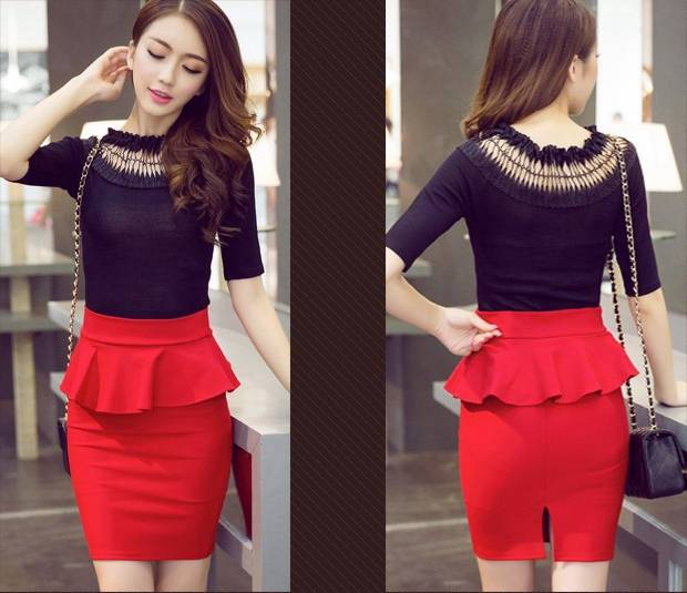 105578cfe 5XL Big Size Peplum Skirt Office Lady Ruffle Skirt Women Sexy Mini Skirt  Pencil With Slit Red Black Skirt Saias Sociais S2756-in Skirts from Women's  ...