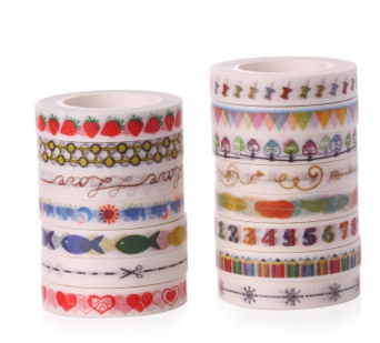 AB-8mm*10m red strawberry red heart blue fish washi decorative adhesive tape(1piece)