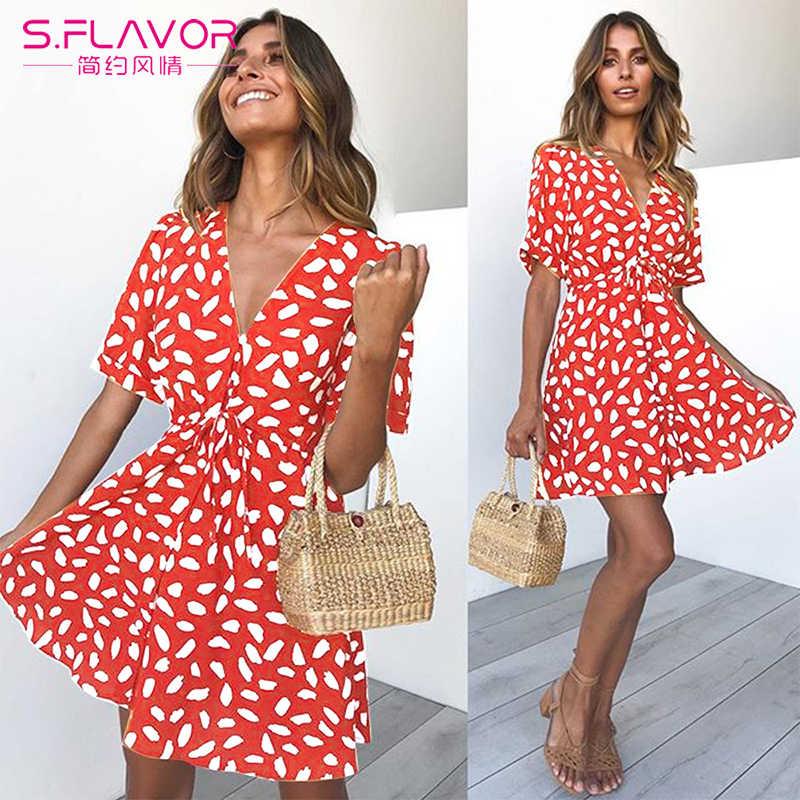 S. FLAVOR drukuj Mini z krótkim rękawem letnia sukienka na imprezę kobiety V Neck Casual letnia sukienka plażowa kobiece seksowne guziki owijają sukienkę linii