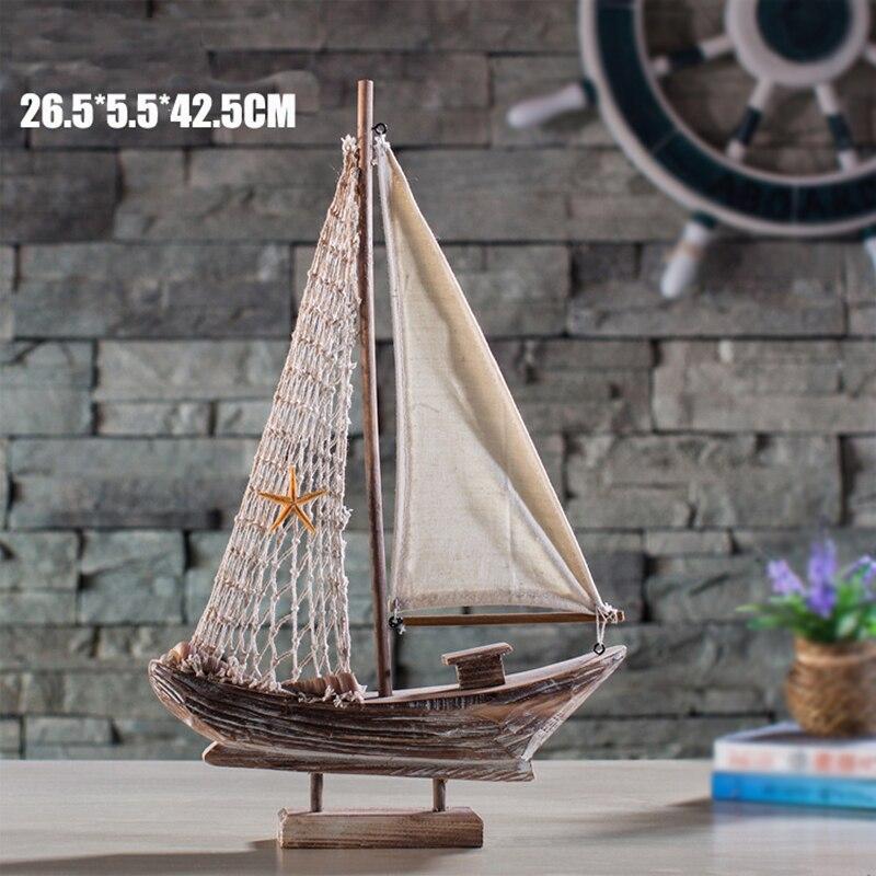 Yeni Ev Mobilya Akdeniz Retro Yelkenli Ahşap Tekneler Modeli - Ev Dekoru - Fotoğraf 3