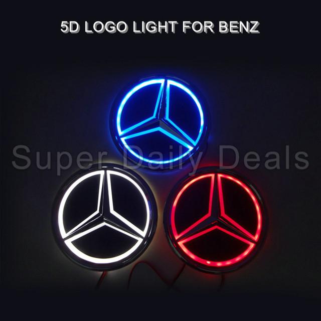 1 pcs 5D Levou Emblema Do Emblema Etiqueta Lâmpada para Mercedes S350 S300L 8.7 cm X 8.7 cm Azul Vermelho Branco 5d levou logotipo luz