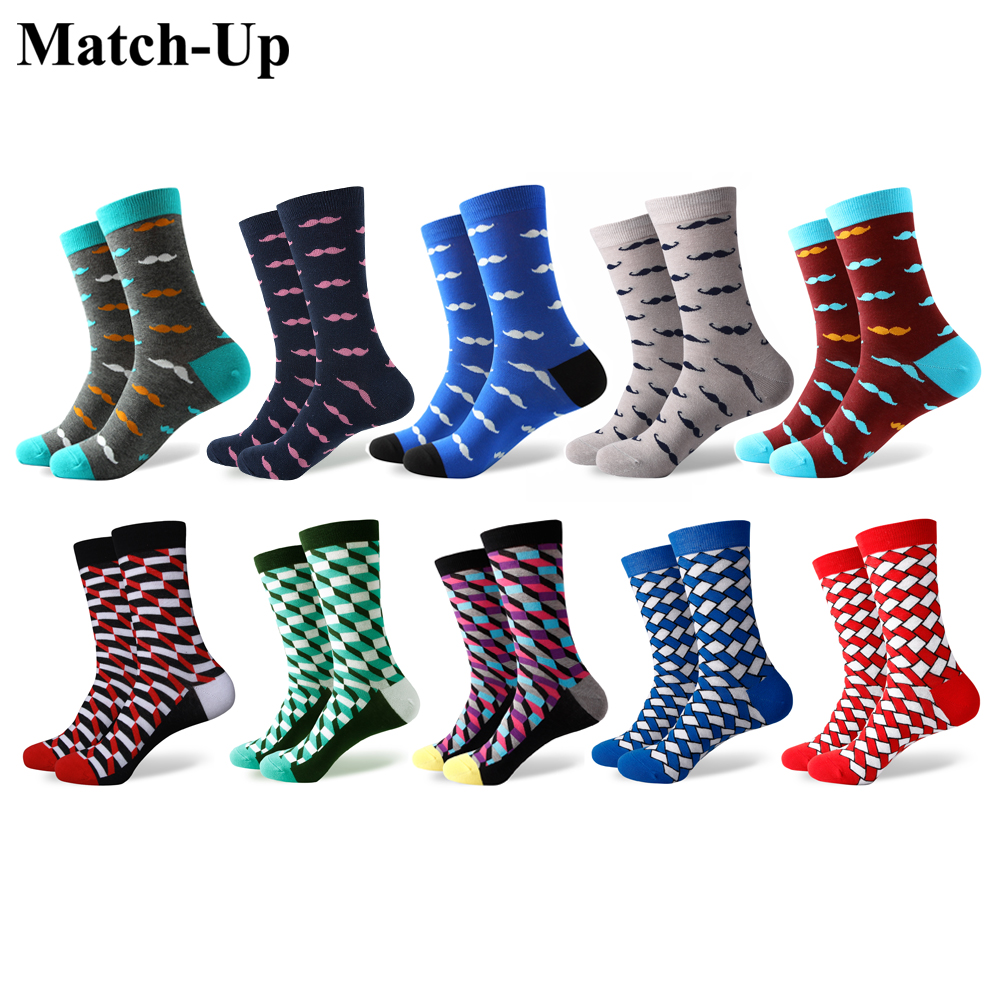 Match-Up Mens high density diamond colored mustache style Cotton socks(10 Pairs/lot)