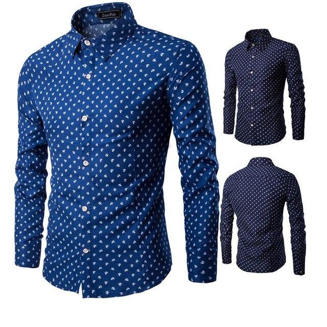 Plain Camisas Dos Homens Longo-Manga Comprida Marca Magro Shirt Dos Homens Camisa de Vestido de Luxo Elegante Âncora Impressão Camisa Camisa Masculina
