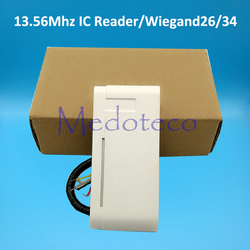 10pcs white color Waterproof 13.56Mhz IC Contactless Smart Proximity Card Reader Access Control Weigand 26/34 IP65 Slave Reader waterproof ip65 13 56mhz ic card