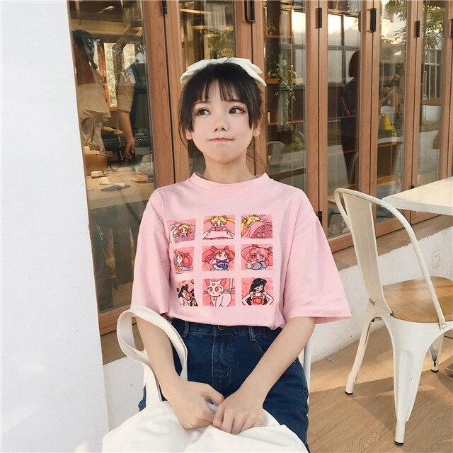 Summer Women's Fashion Large Size Casual Harajuku Cartoon Letters ulzzang Sailor Moon Short Sleeve Funny Half T-Shirt