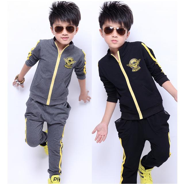 Novo 2016 Moda de Lazer para Crianças Conjuntos de Roupas de Algodão de Manga Longa Bebê Menino Roupa Do Bebê Ternos Esportivos Outono & Inverno d30