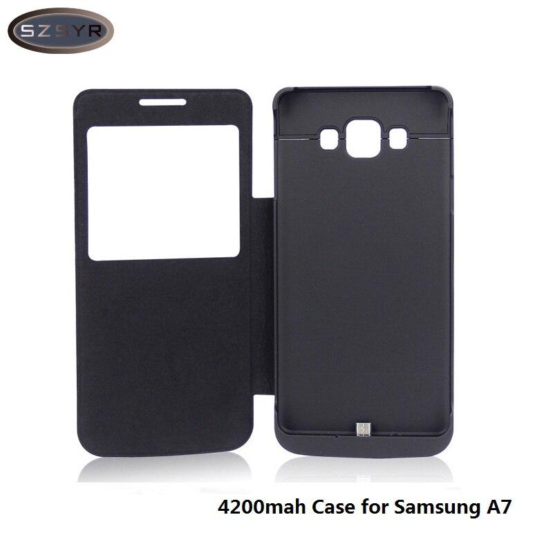 Цена за С окном откидная крышка 4200 мАч Power Bank Внешняя батарея зарядки чехол для Samsung A7 аккумуляторная портативный резервного копирования Бесплатная доставка
