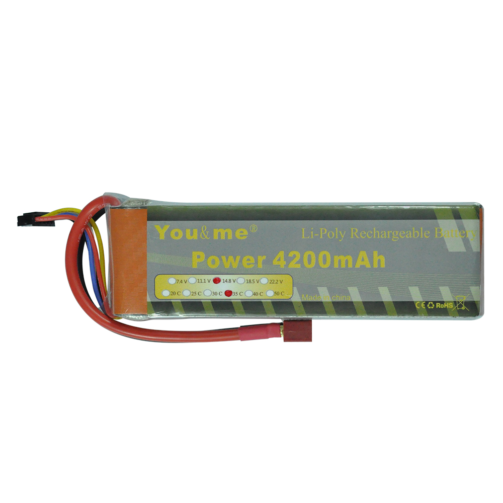 Youme 4S RC Lipo Battery 14.8V 4200mah 35C Max 70C for Trex-450 Fixed-wing RC Helicopter Car Boat Quadcopter fire bull 4s lipo battery 4s 14 8v 3300mah 30c max 40c t xt60 plug lipo rc battery for rc helicopter car boat 4s free shipping