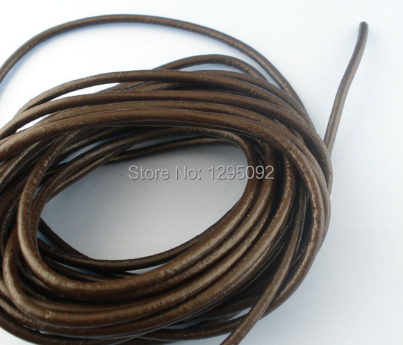 10M Coffee Color Real Leather Jewelry Cord Creation Women & Men Jewelry 3mm