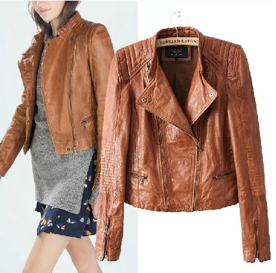 Womens Brown Faux Leather Jacket - Jacket