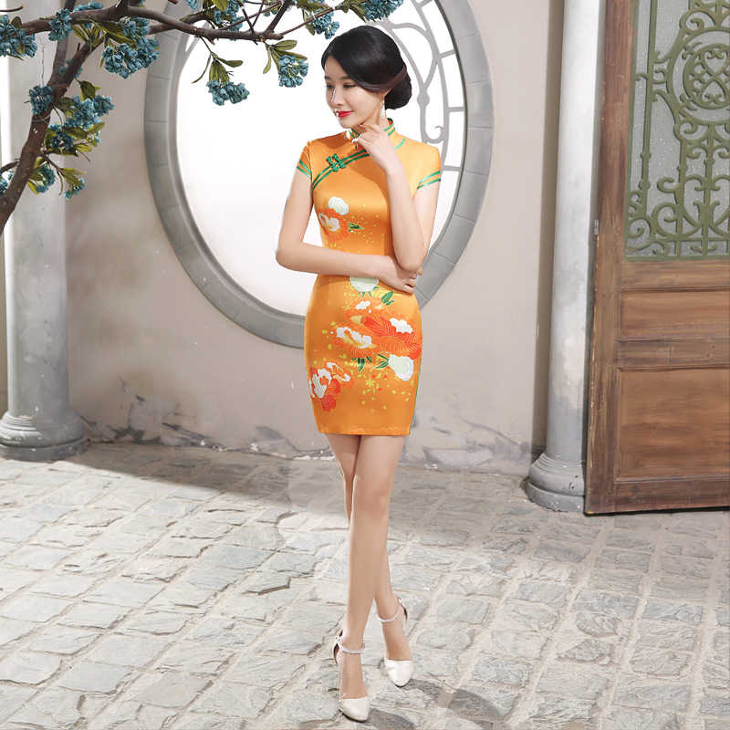 Spring And Summer Slim Fit Chinese Cheongsam Retro Printed Cheongsam Lady Party Tang Costume Orange Short Dress 47JXLGD95
