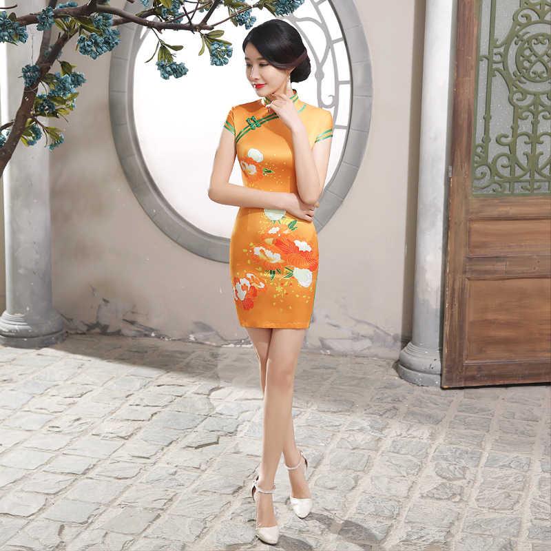 Spring And Summer Slim Fit Chinese Cheongsam Retro Printed Cheongsam Lady Party Tang Costume Orange Short Dress 47JXLGD95