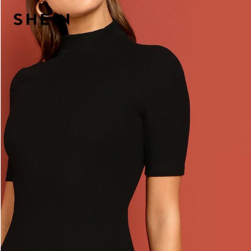 Shein Black Mock Neck Bodycon Dress Women's Dresses Women's Shein Collection