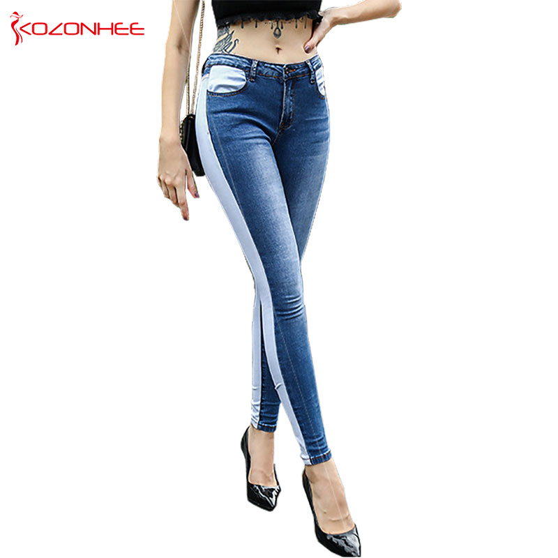 Fashion Double Color Stitching Stretch Jeans Women Mid Wais Elasticity Tight Skinny Pencil Women Jeans #17
