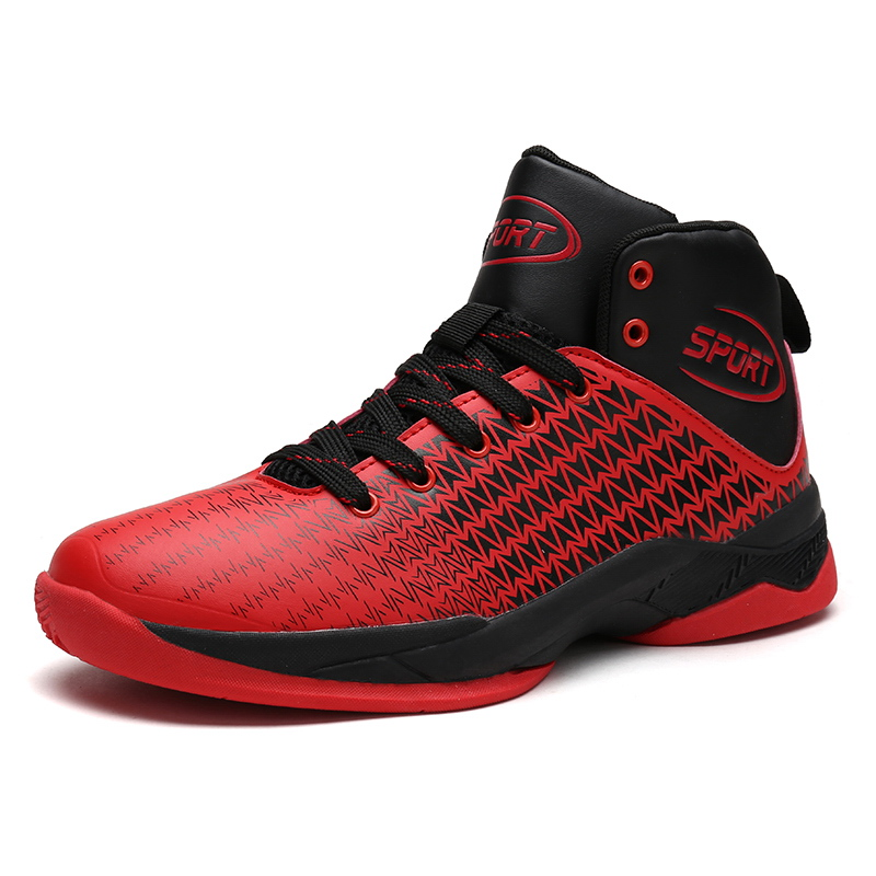 Sufei Newest Men Basketball Shoes High Ankle Black Red Lifestyle Comfortable Cushioning Outdoor SportTraining Sneakers