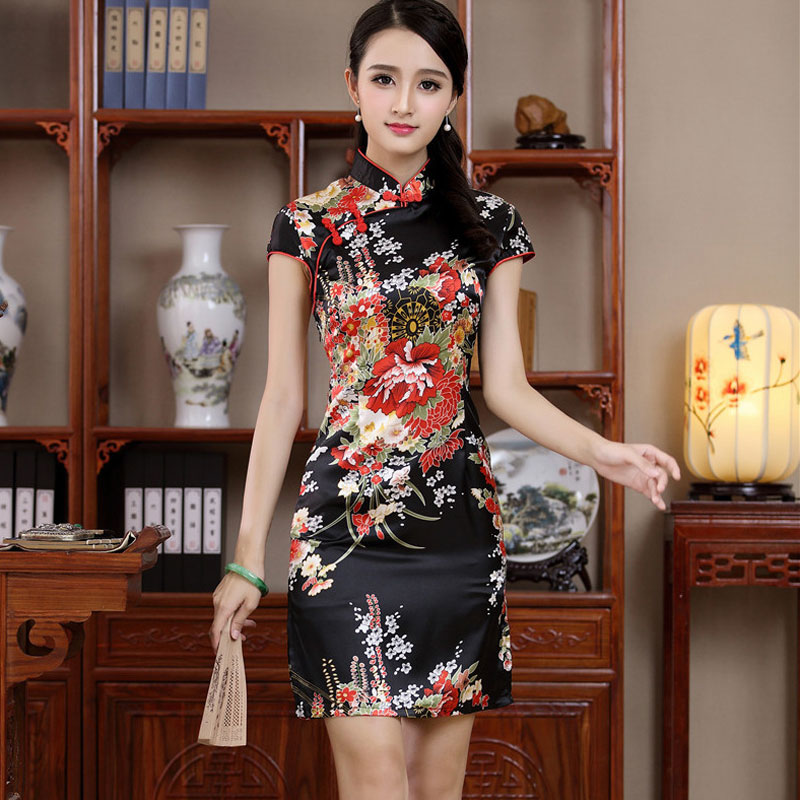 Vintage Women Chinese Dress Cheongsam QiPao Short Silk Big Flower Printing Red Bride Cheongsams Party Dresses