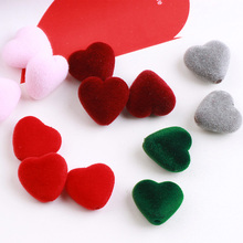 6pcs hair accessories beaded material flocking love heart double hole straight beads charms diy earrings jewelry findings