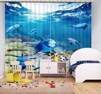 Cortinas fotos 3D Blockout Impressão Marinha golfinho Foto Quarto sala de estar Cortinas de Janela do quarto Dos Miúdos
