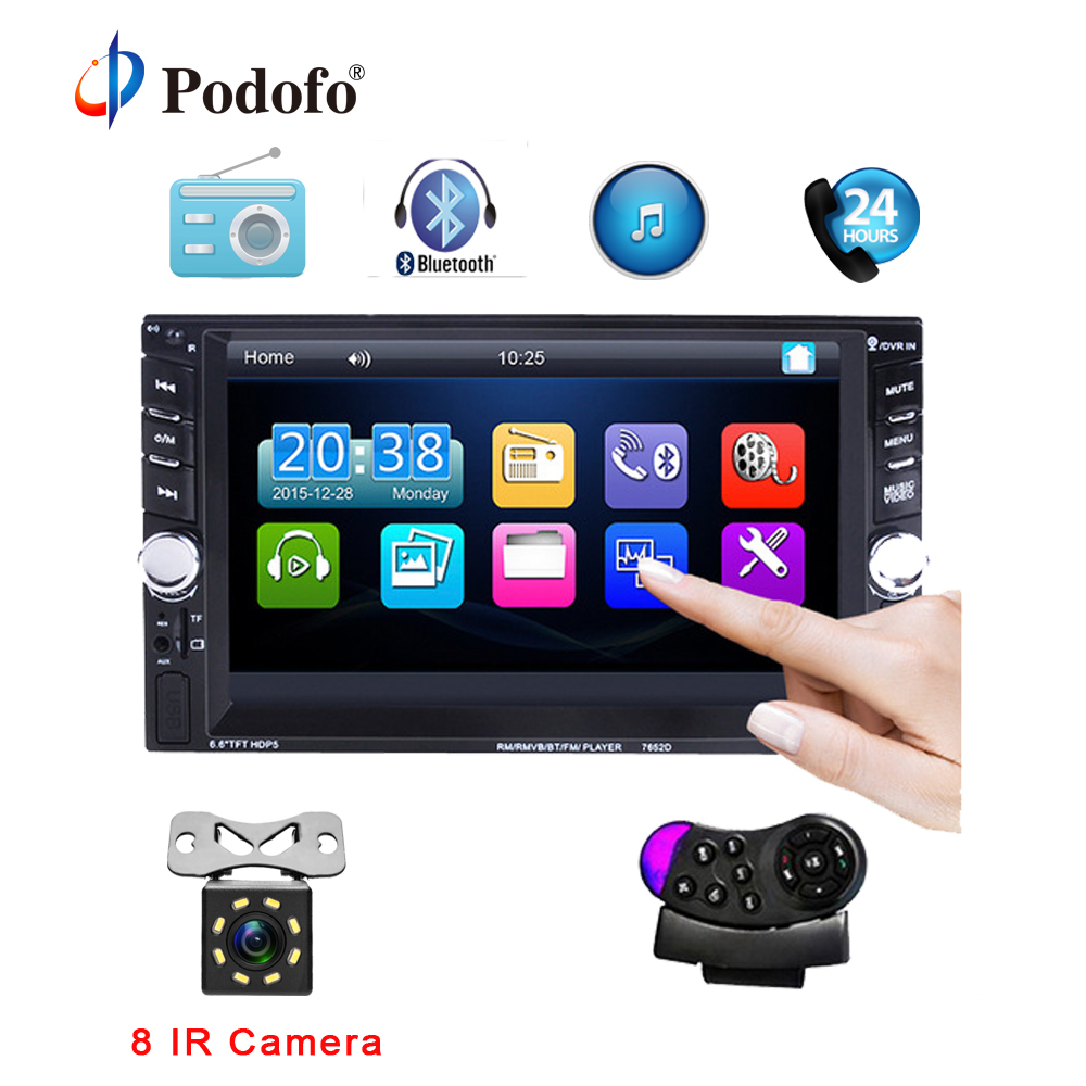 Podofo 2 din Car Radio MP5 Player 7652D Stereo Autoradio 6.6 HD Touch Screen Bluetooth FM/USB/AUX Input Support Rearview Camera