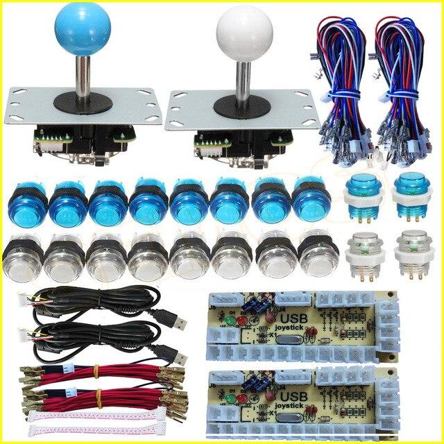 Arcade bricolage Kits pièces 5Pin Joystick + 2x24mm + 8x30mm 5 V LED boutons poussoirs illuminés sans retard encodeur USB pour PC jeu d'arcade