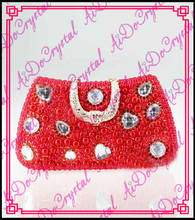 Aidocrystal super quality handmade red pearl ladies clutch bag and slip-on high heel shoes for party
