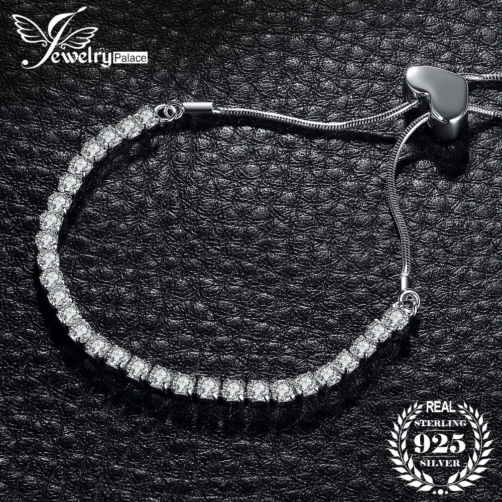 JewelryPalace Infinity Heart Round Cubic Zircon Adjustable Women Blacelets & Bangles 925 Sterling Silver Trendy Jewelry For Her trendy letter heart round rhinestone bracelet for women