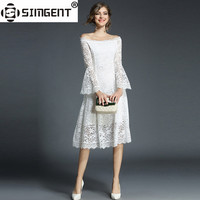 Simgent Lace Dress New Spring Woman Flare Sleeve Knee Length Casual Office Slash Neck Dress Lace Robe Dentelle Vestidos SG71172