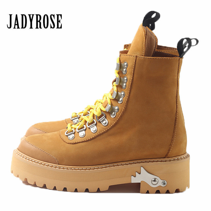 Jady Rose British Genuine Leather Women Ankle Boots Female Platform Rubber High Boots Lace Up Botas Militares Flat Martin Boots jady rose casual gray women ankle boots straps genuine leather short flat botas autumn winter female platform martin boot