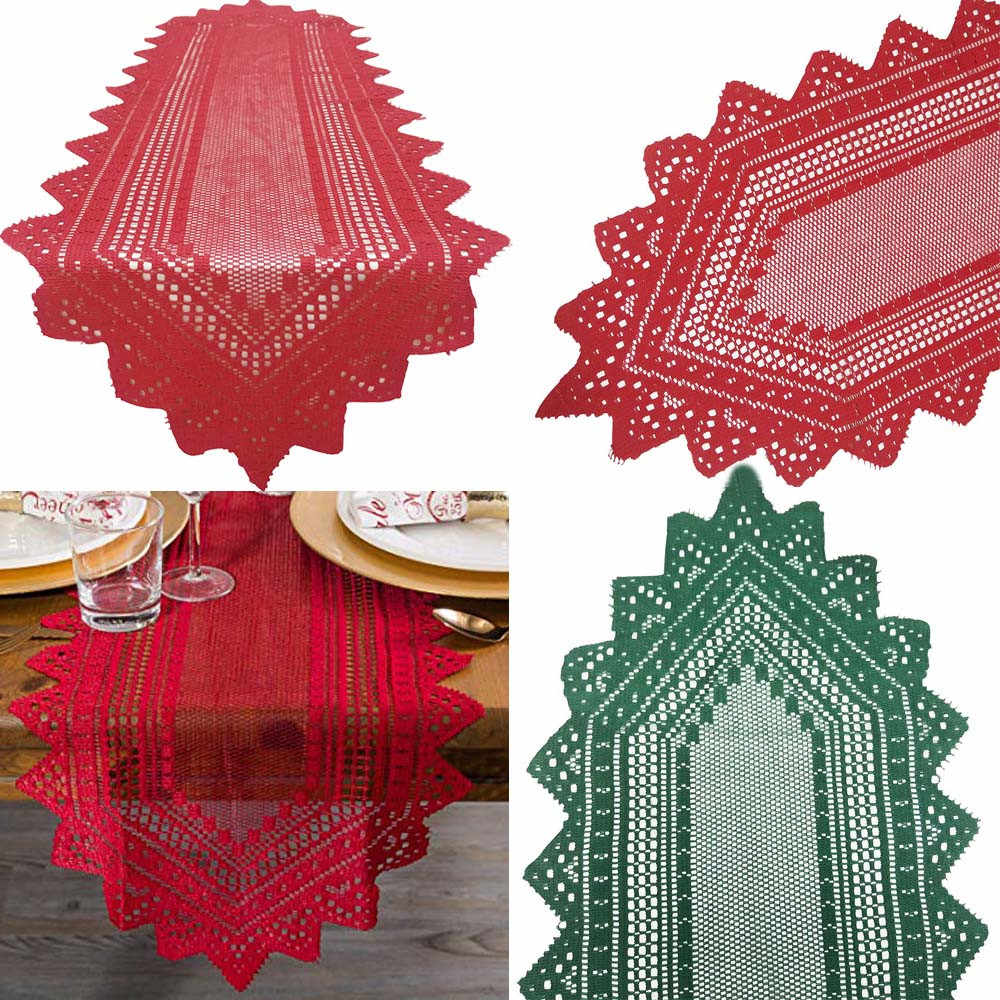Christmas Table Runner Polyester Machine Washable Crochet Lace Table Runner Dinner Parties Restaurant Home Decor 2o81030