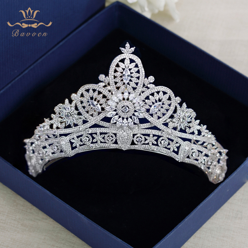 Full Zircon Crystal Tiaras Crowns for Brides Silver Wedding Hairbands Royal Princess Evening Hair Jewelry Wedding Accessories high end silver wedding hairbands royal princess full zircon crystal tiaras crowns for brides evening hair accessories