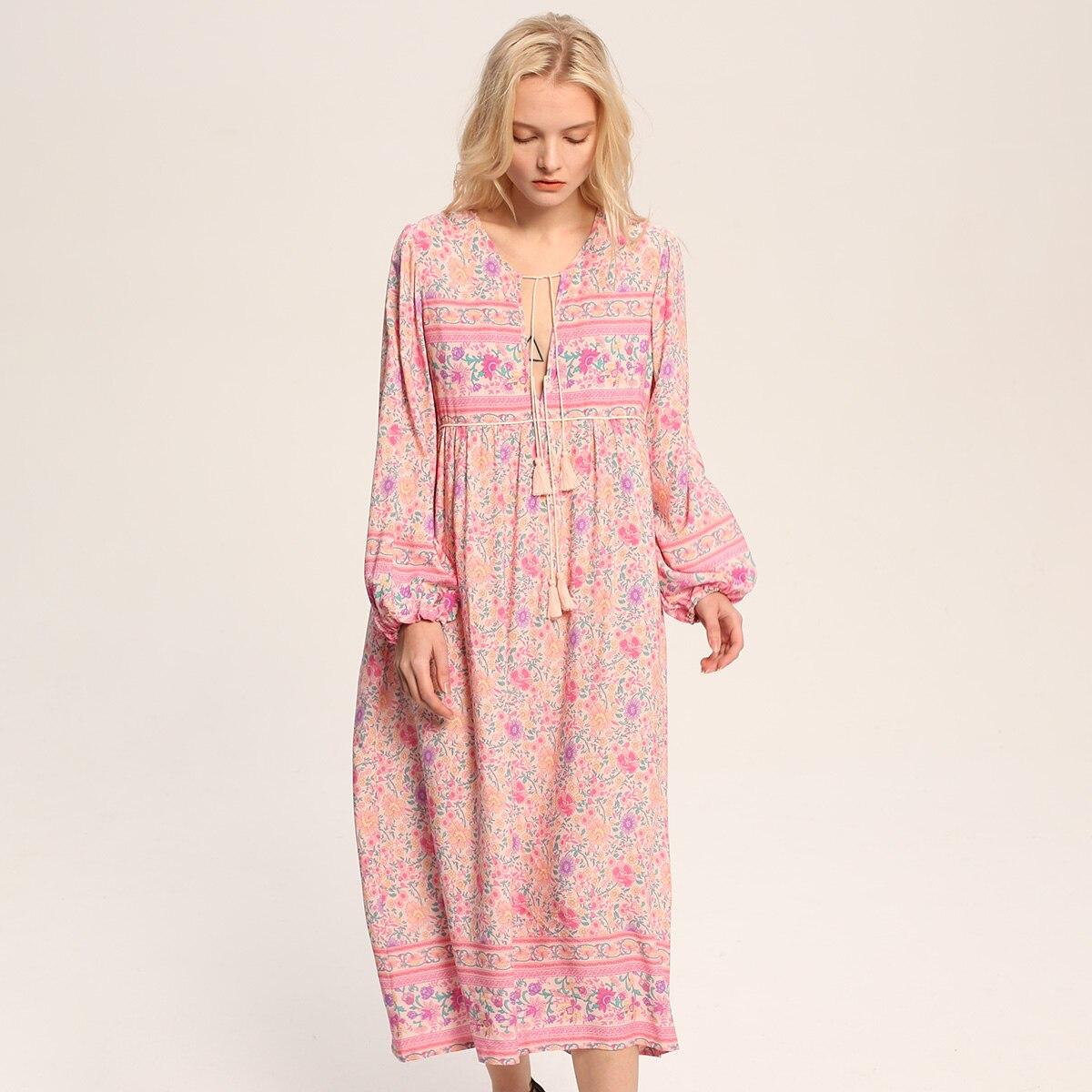 ede3fc07c7 Boho Chic Summer Dress Floral Print Dresses Long Sleeve V-Neck Tassel Long  Dresses Loose