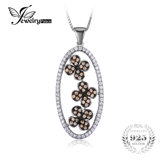 JewelryPalace Flower Clover Cubic Zirconia Pendant 925 Sterling Silver Black Gold Plated Fine Jewelry Not Include a Chain