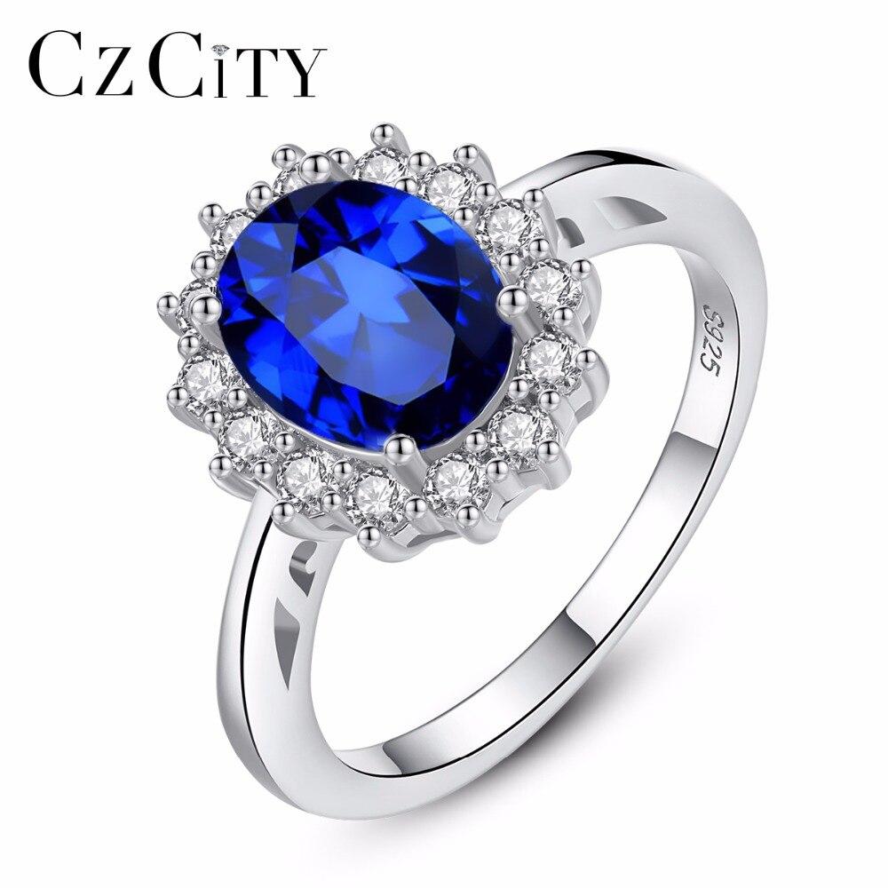 CZCITY Princesse Diana William Kate Bagues en Diamant Saphir Bleu Mariage De Fiançailles 925 Sterling Argent Bague pour les Femmes