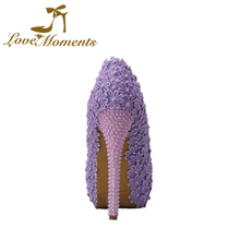Love Moments sweet wedding shoes woman flowers pearl  beading bridal high heels shoes bride dress shoes  white/ ivory/ purple