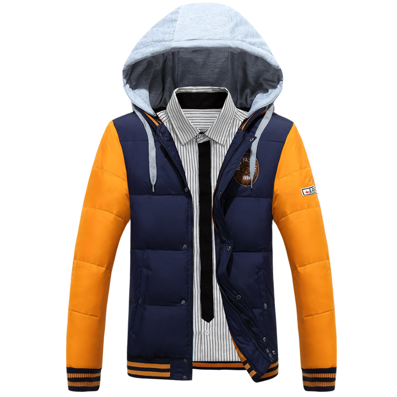 Winter down jackets Men 2016 Casual Stand Collar White Duck Down Slim Warm jacket Duck Coats Outerwear