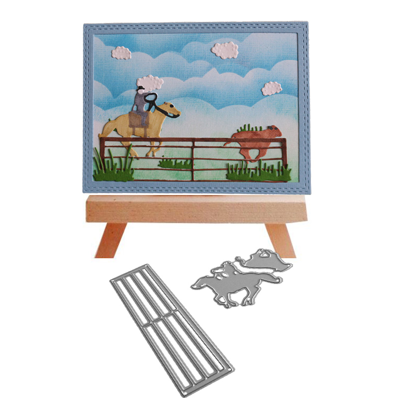 Die Cut Metal Steel Horse Riding in Fence Set Cutting Dies Stencil For DIY Scrapbooking Album Paper Card Photo Decorative Craft