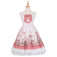 Sweet Lolita Jumper Skirt Straps Pink Bow Printed Lolita JSK Cute Pleated Dress